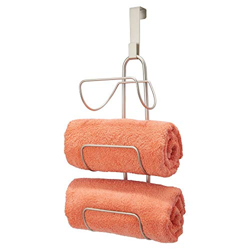 mDesign Modern Decorative Metal Wire Over Shower Door Towel Rack Holder Organizer - for Storage of Bathroom Towels, Washcloths, Hand Towels - 3 Tiers - Satin