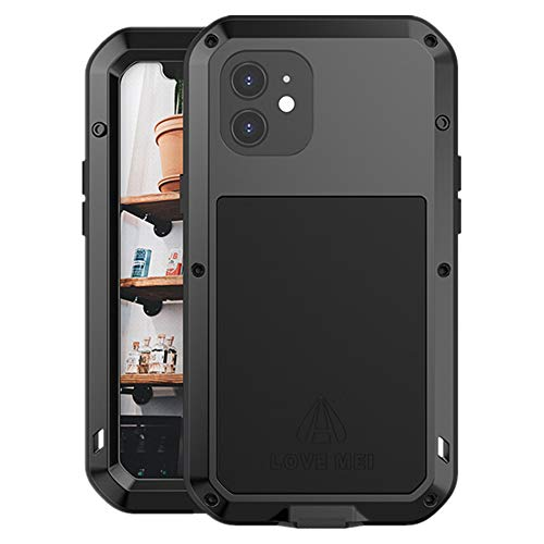 LOVE MEI per iPhone 12 Custodia,Outdoor Heavy Duty Antiurto Impermeabile Polvere-Prova Sporcizia-Prova in Alluminio Metallo Cover con Vetro Temperato per iPhone 12 6.1'' (Nero)
