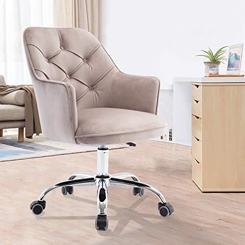 SSLine Elegant Upholstered Desk Chair Stylish Velvet Office Computer Chair with Chrome Base Wheels Girls Women Vanity Chair Director Chair w/Armrest for Living Room Bedroom Study Room (Light Grey)