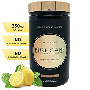 Pure Cane Natural Pre Workout Powder for Men & Women – No Artificial Sweeteners, Organically Sweetened, All Natural Flavors – Homemade Sweet Tea