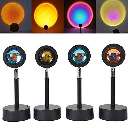ZHJQTIE Puesta de Sol Lampara,Proyector de luz Nocturna rotación de 90 Grados Lámpara Led Lámpara de Proyección de Arco Iris de Rotación de Luz Led Romántica para Niños Adultos Puesta de Sol