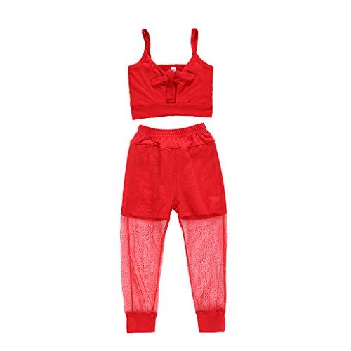 Winkey - Conjunto de ropa para bebé y niña, correas sólidas y pantalones de tul Rojo rosso 5-6 Años