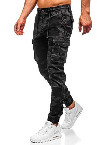 BOLF Hombre Pantalón Jogger Camuflaje Vaqueros Denim Pantalones de Algodón Slim Fit Bajos Ajustados Estilo Urbano 6F6