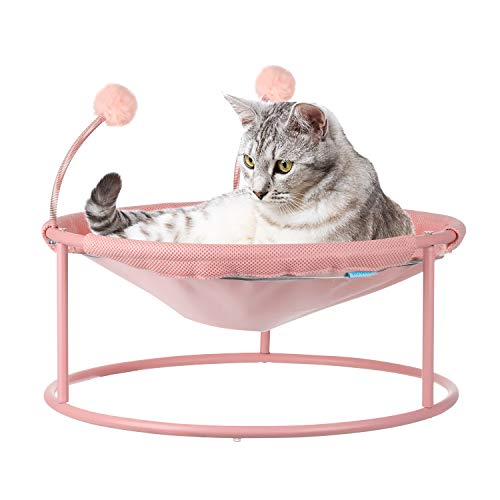 Cat Hammock, Cat Bed Dog Bed Pet Hammock Bed Pet Resting Seat Safety Cat Shelves -with Stand Detachable and Washable, Free-Standing Cat Sleeping Bed Breathability Easy Assembly Indoors Outdoors (Pink)