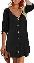 Chase Secret Women Summer Dress Sexy V Neck Floral Print Swing Button Down Mini Tunic Dresses Black X-Larger