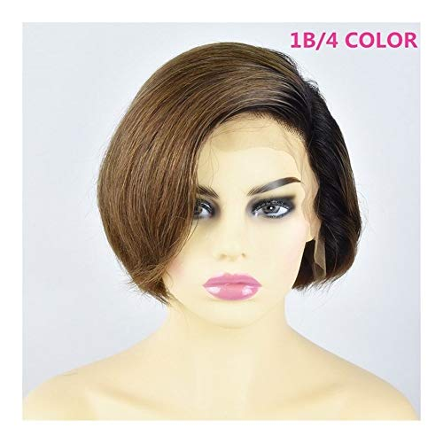 LEZDPP 13x6 Lace Front Human Hair Short Hair Bob Wig Color 1B Blonde Girl Black Straight Girl with Brazilian Remy Hair Hairpieces (Color : D, Size : 10 inches)