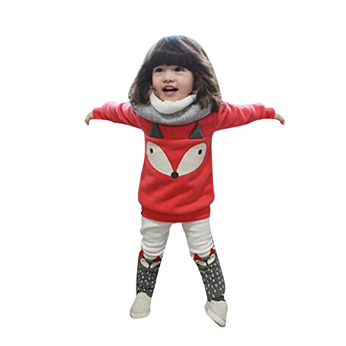LuckyGirls Baby Set Kleidung Mädchen O-Ausschnitt Fuchs Plüsch Langarm Sweatshirt Tops + Hosen Outfits (80/12M)
