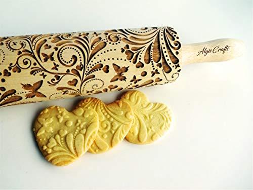 Nudelholz FRÜHLING für Hausgemachtes Gebäck. Teigroller mit Herzchen, Schmetterlinge von Algis Crafts mit Liebe