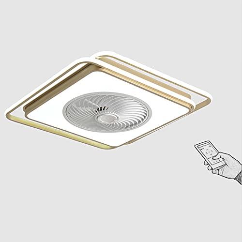 VOMI Ventilador de Techo con iluminación Luz Regulable Lampara LED Techo con Control Remoto Invisible Lámpara Del Ventilador Velocidad Del Viento Ajustable para Dormitorio Sala de Estar Comedor Dorado