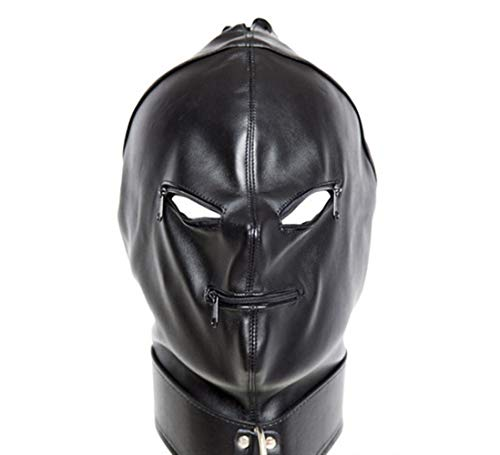 Black Leather Hoofddeksels Hot Tie Flirting leren masker Vrouwen Helmet Open neusmond Restraint Kit ZHQHYQHHX (Color : Black)