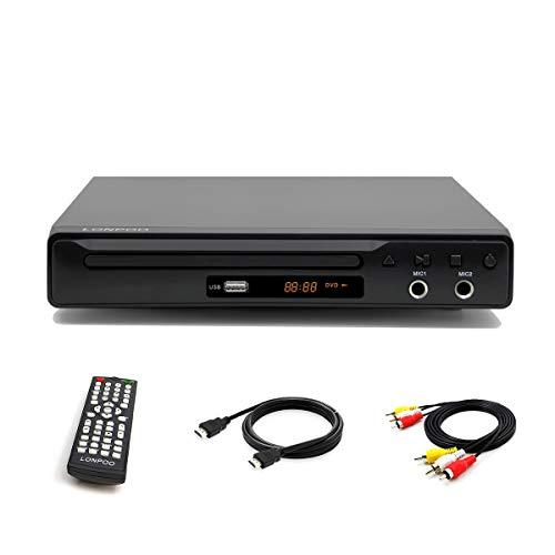 Reproductor de DVD, Compact DVD Player (Full HD,HDMI, USB,Divx,MP3 Incluido Cable HDMI& AV &Control Remoto