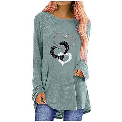 QUNIMA Blusentop - Camiseta de verano para mujer de color blanco, suelta, de lino, con botones, informal, talla grande, abierta, cuello en V, manga larga, con estampado, túnica, camisa, blusa
