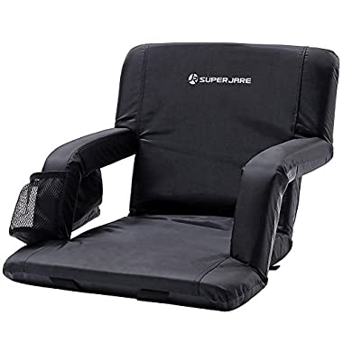 SUPERJARE Folding Stadium Seat, Bleacher Chair with Back, Portable Reclining Seat with Folding Armrest, Feature in Bottom Fixed Strap & 3 Storage Pocket, Black