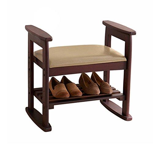 Tabouret de chaussures de 2 niveaux de changement Tabouret de pied rembourré Repose-pieds en bois de stockage rétro antipoussière Couloir banc avec hauteur réglable PU siège coussin 53x33x51cm