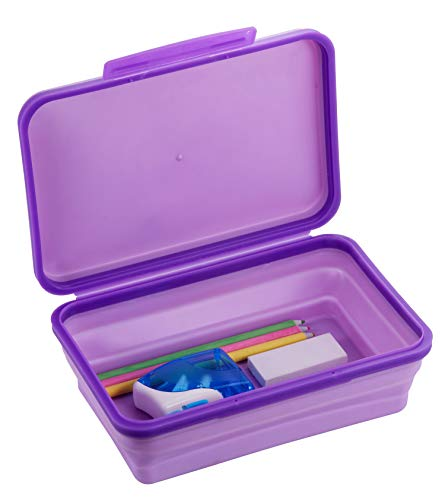 It's Academic Flexi Storage Box, Folding, Collapsible and Adjustable for Pencils, Supplies, and More, Purple (23135)