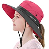 LCZTN Kids Ponytail Sun Hat Wide Brim UV Protection for Girls Beach Bucket Cap (M:20.5'-21.7' Head circumferences, Suggest to 5-12T, Watermelon Red)