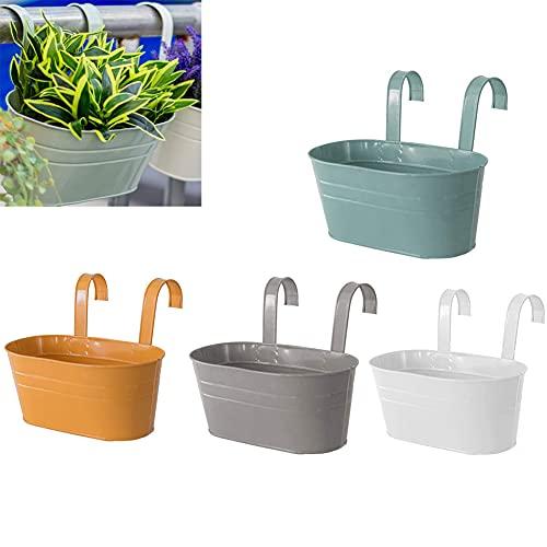 SHANGBAN 4 pièces Pot de fleur suspendu en métal clôture conteneur de fleurs Pot de jardin avec double crochet détachable seau mural porte-fleurs pour balcon jardin