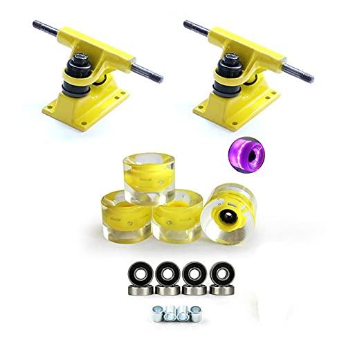 lxxiulirzeu Ruedas de monopatín, Camiones de monopatín 3.25 Pulgadas con 60 * 45mm PU Skateboard Wheels Puente y rodamientos (Color : Yellow)
