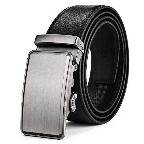 BOYOU Cinturón de cuero para hombres con hebilla automática deslizante para hombres Negro
