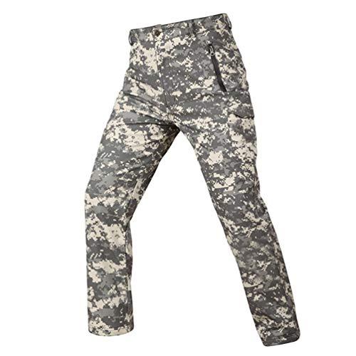 YuanDiann Homme Tactique Camouflage Softshell Pantalon Doublé Polaire Militaire Multipoches Outdoor Randonnée Trekking Pantalon Imperméable Chaud Épaissir Chasse Camping Pantalon ACU M