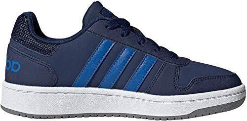 adidas EE8999 Hoops 2.0 Jungen Sneaker Lederimitat herausnehmbare Innensohle, Groesse 37 1/3, dunkelblau/blau