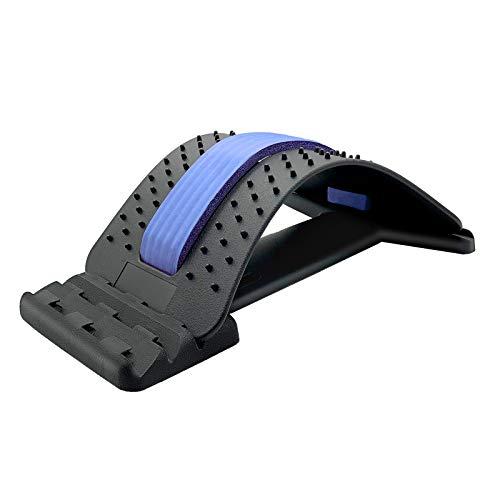 UUCOLOR Rückenstrecker,Rückenmassage Unterstützung,Back Stretcher,3 Stufen Einstellbar Rückendehner Gerät zur Haltungskorrektur und Rückenschmerzlinderung(Blau)