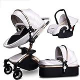 ZHYLing Passeggino per Bambini 3 in 1 Carrozzina di Lusso per Il Neonato Bebe Moda in Pelle PU (Color : G White)