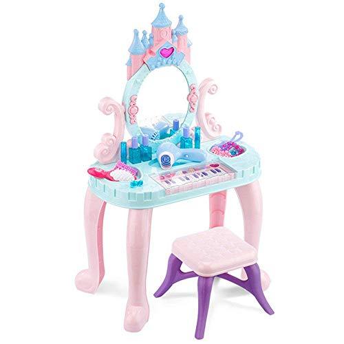 Tägliche Ausrüstung Kindertisch mit Spiegel Kindertastatur Klavierspielzeug Mädchen Spielhaus Schminktisch Schminktisch Prinzessin Make-up Box Set 3-6 Jahre Alter Kindertisch (Farbe: Blau Größe: 76