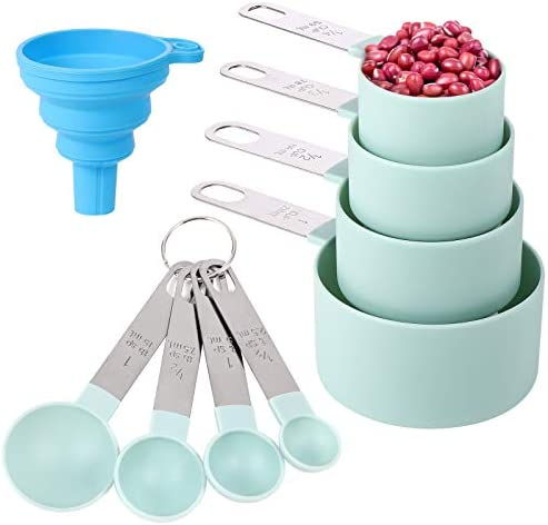 Measuring Cups and Spoons Set of 8 Pieces Nesting Measure Cups with Stainless Steel Handle for product image