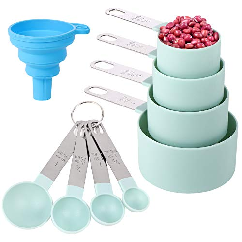 Measuring Cups and Spoons Set of 8 Pieces,Nesting Measure Cups with Stainless Steel Handle,for Dry and Liquid Ingredient (lake blue)