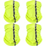 4 Pieces Neck Gaiter Visibility Reflective Safety Bandana Wind Dust Protection Scarf (Yellow)