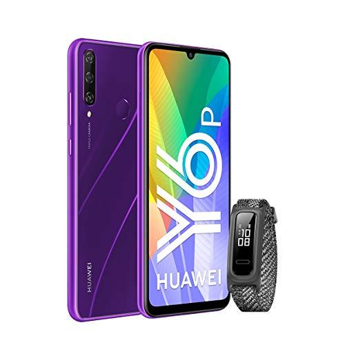 HUAWEI Y6p - Smartphone 6.3' (3 GB RAM+64 GB ROM, Procesador Octa-Core, Triple cámara de 13MP, Lente Ultra Gran Angular, Batería de 5000 mAh) Azul + Band 4e Grey [Versión ES/PT]