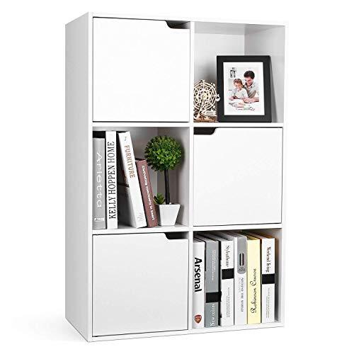 Homfa Estantería Librería Estantería para Libros Estantería Almacenaje de Pared de 6 Cubos 3 Puertas Blanco 60x29x90cm