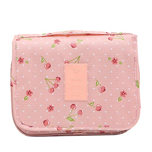 Hanging Travel Toiletry Bag Cosmetic Make up Organizer (Pink Cherry)