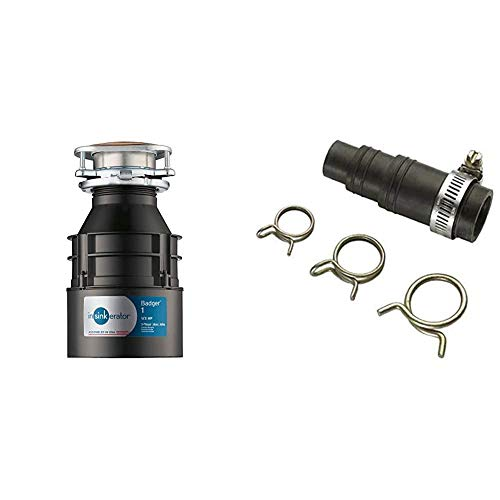 InSinkErator Garbage Disposal, Badger 1, 1/3 HP Continuous Feed & DWC-00 Dishwasher Connector Kit, Black