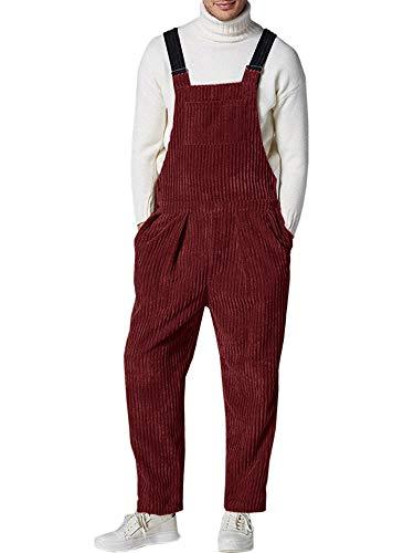 Gemijacka Latzhose Herren Cord-Latzhose mit 5 Taschen Herren Winter Streetwear Retro Corduroy Overall Rot M