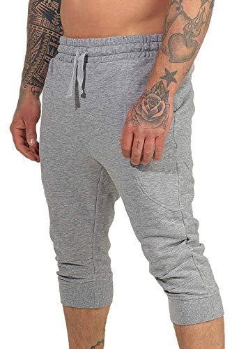 Mivaro 3/4 Herren Hose kurz, Sweat-Pants, Kurze Jogginghose, Größe:M, Farbe:Grau meliert