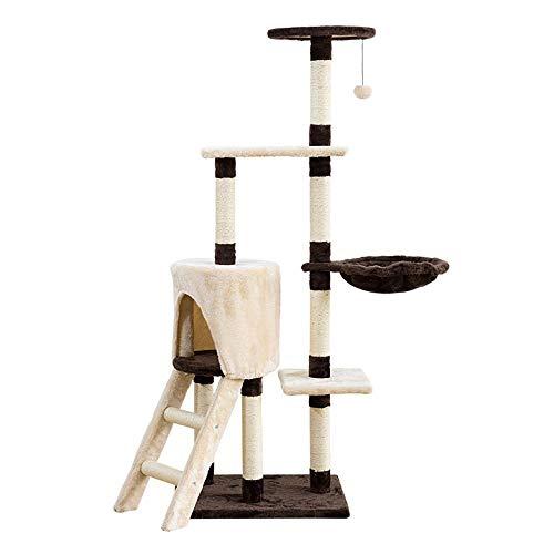 Famgizmo - Rascador para gatos de sisal natural, 139 cm, árbol rascador con nido, multiniveles, centro de actividades para gatos con juguetes flotantes y escaleras, muebles para gatos, marrón y beige
