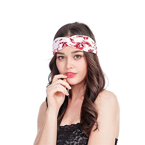 RXQCAOXIA 2 stuks vrouwen workout hoofdband zweetband vintage zachte wikkeling stretchy Head Wrap ideaal voor sport/yoga/pilates/dansen/hardlopen/fietsen/fitness oefeningen