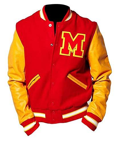 SuperSkySeller MJ Michael Jackson Thriller Chaqueta M Logo Letterman Varsity Rojo Amarillo Chaqueta