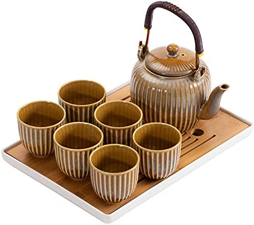 Japanese style ceramic tea set contains 6 tea cups, a teapot and