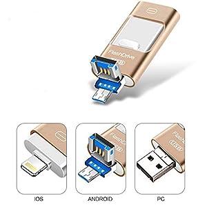 Kaulery Memoria USB para iPhone Android Pendrive 256GB Compatible con iOS iPad iPod Computadoras Laptops 3 en 1 Memoria Flash USB 3.0 (256GB)