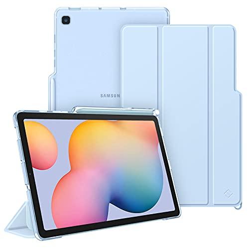 FINTIE Funda para Samsung Galaxy Tab S6 Lite de 10.4' con Soporte para S Pen - Trasera Transparente Mate Carcasa Ligera con Auto-Reposo/Activación para Modelo SM-P610/P615, Azul Claro