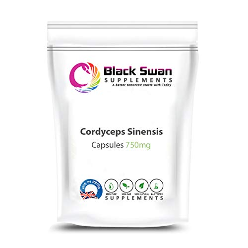 Black Swan Cordyceps Sinensis Capsules | with Anti-inflammatory and antioxidant Properties | Support Energy Level | Healthy Immune System | Healthy Skin | 750 mg (30 caps)