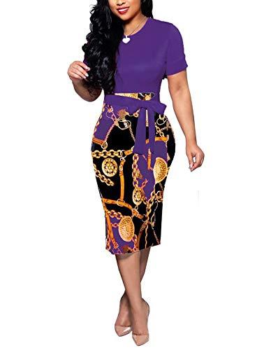 Women' Short Sleeve Bodycon Dress -Cute Bowknot Floral Pencil Dress XX-Large Purple