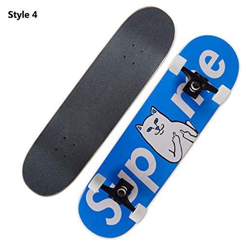 Skateboard, komplettes Board AdultsKids Skateboard Double Kick Trick Verrückte Kanadisches Ahorndeck Robustes, geräuscharmes Hochgeschwindigkeitslager Cooles Muster Anfänger ABEC-7 load 150KG,style4