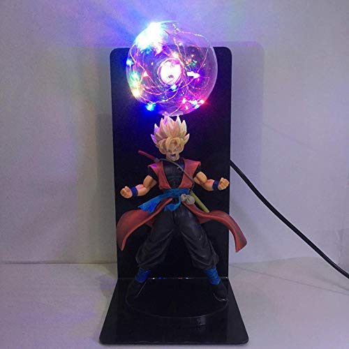 Anime Dragon Ball Z Lámpara 3D de Goku Goku Kakarot Vegeta Majin Buu Sharu 2 en 1 Escultura de figura de anime Luz LED Lucha contra bombas de energía Lámpara de mesa creativa hecha a mano Lámpara