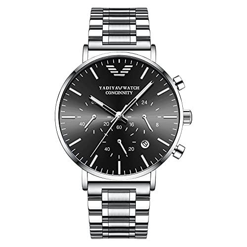 Orologio da uomo,orologio da uomo impermeabile a carica automatica, orologio da polso da uomo con quadrante dual-time, frase lunare