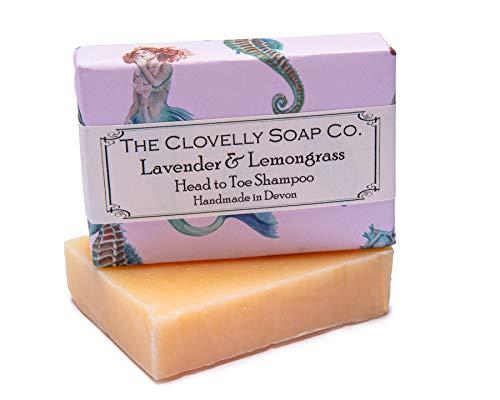 Clovelly Soap Co Natürliche handgemachte Haarseife für normales bis fettiges Haar & Kopfhaut Lavendel & Zitronengras 100g