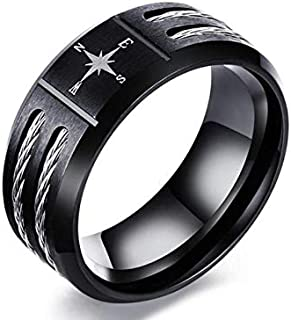 Men's Compass Ring for Men Black and Silver with Two Pieces Size 7